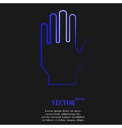 Stop hand flat modern web button and space for vector