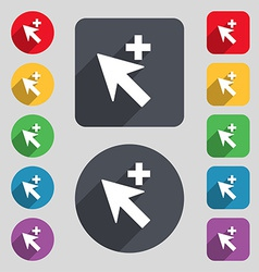 Cursor arrow plus add icon sign a set of 12 vector