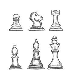 Hand drawn chess figures vector