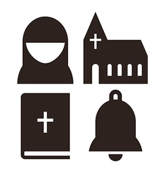 Nun church bible and bell icons vector