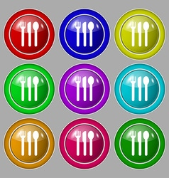 Fork knife spoon icon sign symbol on nine round vector