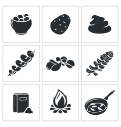 Potato icons set vector