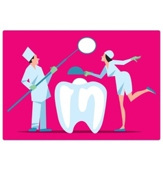 Two dentist treat a tooth vector