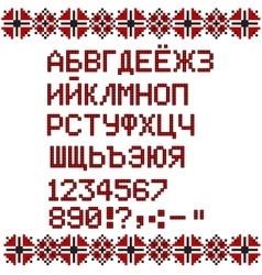 Russian alphabet on white and red national ethnic vector