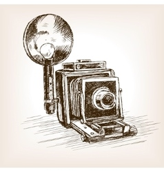 Old photo camera sketch style vector
