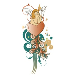 angel with floral vector image