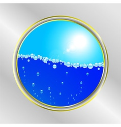 Water bubble and sunny sky border vector image
