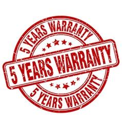 5 years warranty red grunge round vintage rubber vector