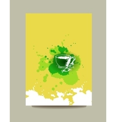 Business card flyer or brochure with green tea vector