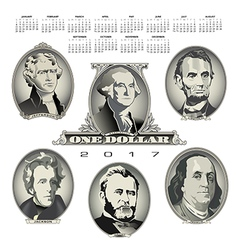 A 2017 calendar with Presidential oval bill elemen vector image vector image