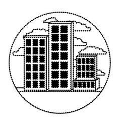 building set city in circular frame with cloud vector image