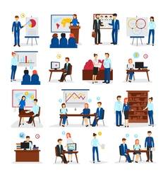 Business training consulting flat icons set vector