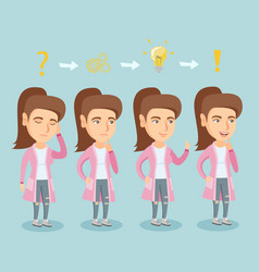 Business woman during process of business planning vector