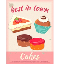 Cakes poster best in town vintage stile vector