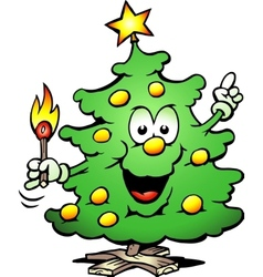 Christmas tree with a match vector