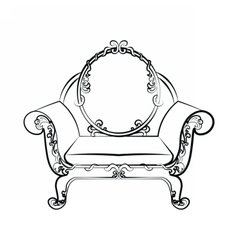 Classic royal armchair with floral ornaments vector