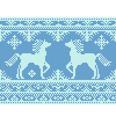 Embroidery blue Christmas pattern vector image