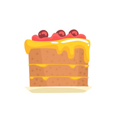festive cake with cherries sweet dessert cartoon vector image vector image