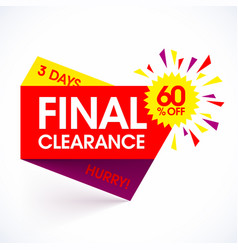 final clearance sale paper banner design template vector image vector image