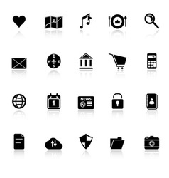 General application icons with reflect on white vector image vector image