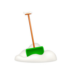 green snow shovel standing in snow vector image vector image