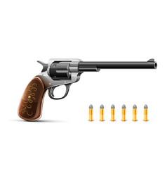 gun revolver with bullet vector image vector image