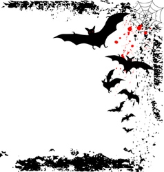 Halloween background with flying bats in full moon vector