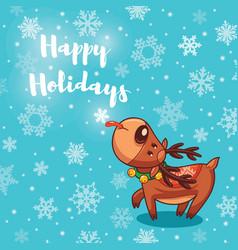Happy Holidays card with cute cartoon deer vector image vector image