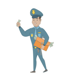 Hispanic policeman with briefcase full of money vector