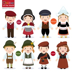 Kids in different traditional costumes Wales vector image vector image
