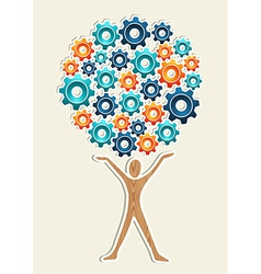 Man gear machine concept tree vector image
