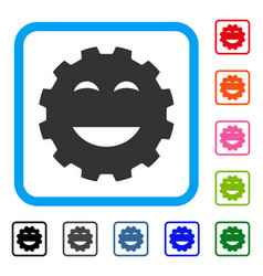 Pleasure smiley gear framed icon vector