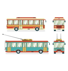 Public transport bus trolleybus 4 icons vector