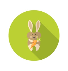 Rabbit with carrot flat icon vector