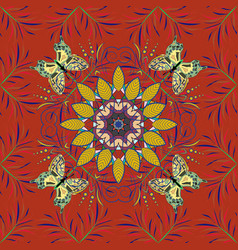 seamless floral pattern in flowers on orange vector image