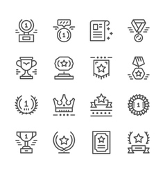 Set line icons of award vector image