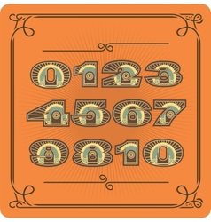 Set Of Retro Numbers vector image vector image