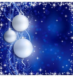 Silver blue Christmas background with hanging baub vector image