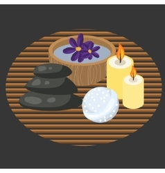 Spa procedure accessories on makisu woven mat vector