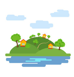 Summer background with the image of the houses vector