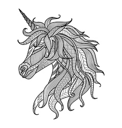 Unicorn zentangle coloring book vector image vector image