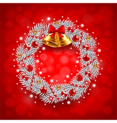 White Christmas wreath on red background vector image