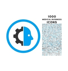 Cyborg rounded icon with 1000 bonus icons vector