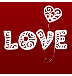 Cut out paper lacy love sign vector