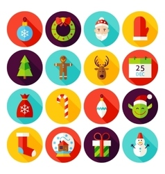 Happy New Year Flat Icons vector image