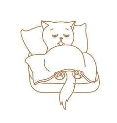 Cute cat character lying in bed tired or ill vector
