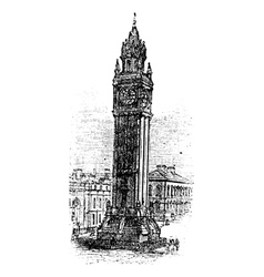 Albert memorial clock engraving vector