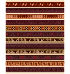Set of ten greek borders vector image
