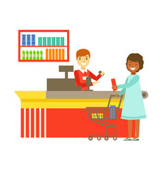 Cashier serving buyer at the cash register in vector