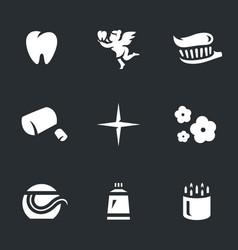 set of dental hygiene icons vector image